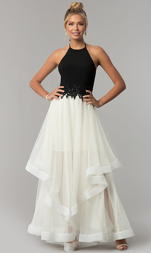 Image of long high-neck halter black and ivory prom dress. Style: BN-281BN Detail Image 3