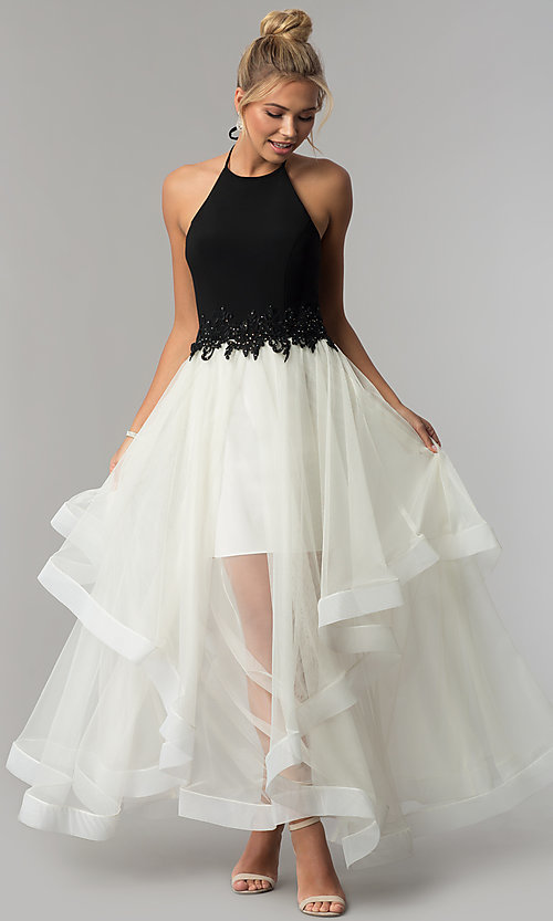 Image of long high-neck halter black and ivory prom dress. Style: BN-281BN Front Image