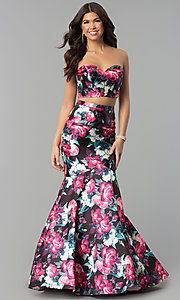 Image of floral-print two-piece long mermaid prom dress. Style: BL-PG3165 Front Image