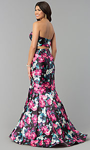 Image of floral-print two-piece long mermaid prom dress. Style: BL-PG3165 Back Image