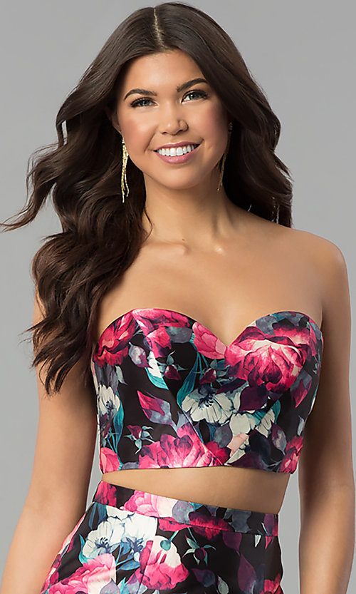 Image of floral-print two-piece long mermaid prom dress. Style: BL-PG3165 Detail Image 1
