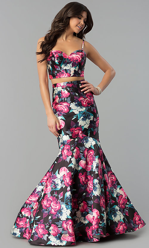Image of floral-print two-piece long mermaid prom dress. Style: BL-PG3165 Detail Image 3