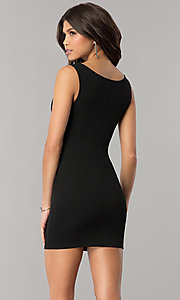 Image of v-neck bodycon short cocktail party dress. Style: BLU-BD8678 Back Image