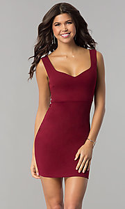 Image of v-neck bodycon short cocktail party dress. Style: BLU-BD8678 Front Image