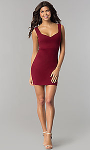 Image of v-neck bodycon short cocktail party dress. Style: BLU-BD8678 Detail Image 1
