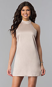 Image of short halter shift wedding-guest party dress. Style: VJ-LD41874 Front Image
