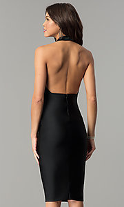 Image of Atria knee-length halter short formal dress. Style: AT-8508 Back Image