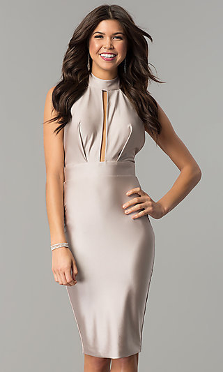 Atria Knee-Length Halter Short Formal Dress