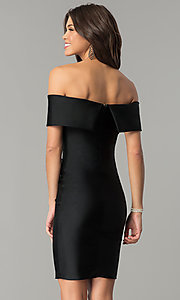 Image of Atria off-the-shoulder short spandex party dress. Style: AT-8509 Back Image