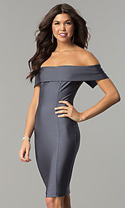 Image of Atria off-the-shoulder short spandex party dress. Style: AT-8509 Detail Image 3