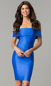 Image of Atria off-the-shoulder short spandex party dress. Style: AT-8509 Front Image