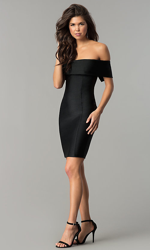 Image of Atria off-the-shoulder short spandex party dress. Style: AT-8509 Detail Image 2