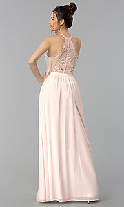 Image of chiffon v-neck formal dress with lace racerback. Style: LP-27442 Detail Image 4