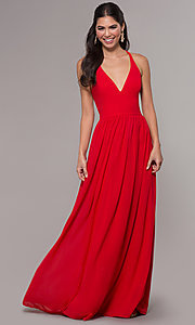 Image of chiffon v-neck formal dress with lace racerback. Style: LP-27442 Detail Image 1