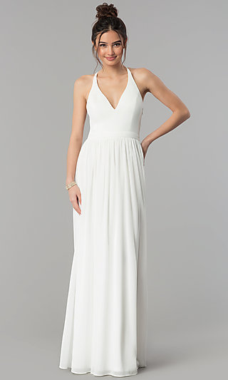 Chiffon V-Neck Formal Dress with Lace Racerback