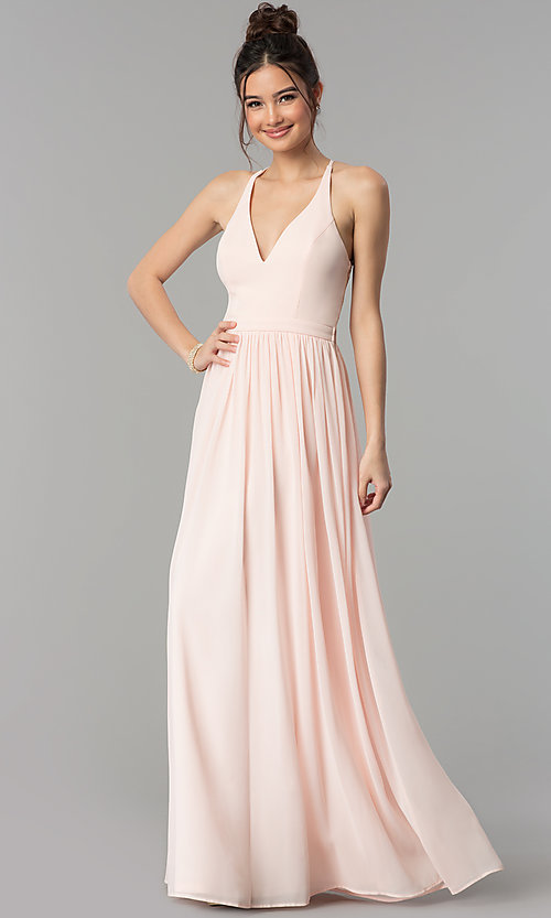 Image of chiffon v-neck formal dress with lace racerback. Style: LP-27442 Detail Image 5