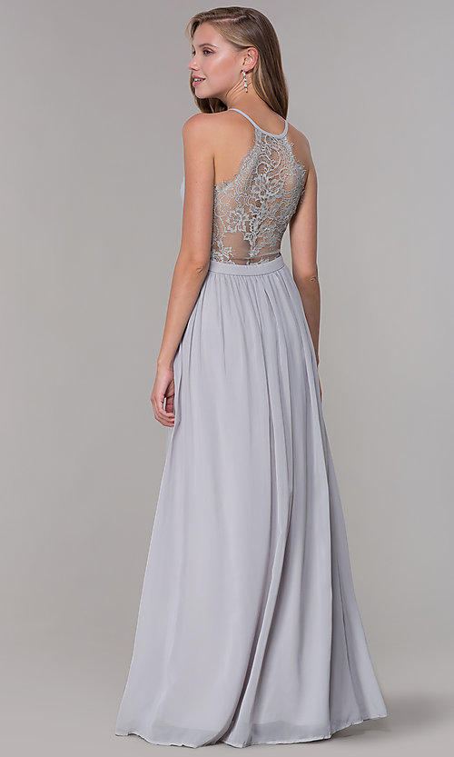 Image of chiffon v-neck formal dress with lace racerback. Style: LP-27442 Detail Image 7