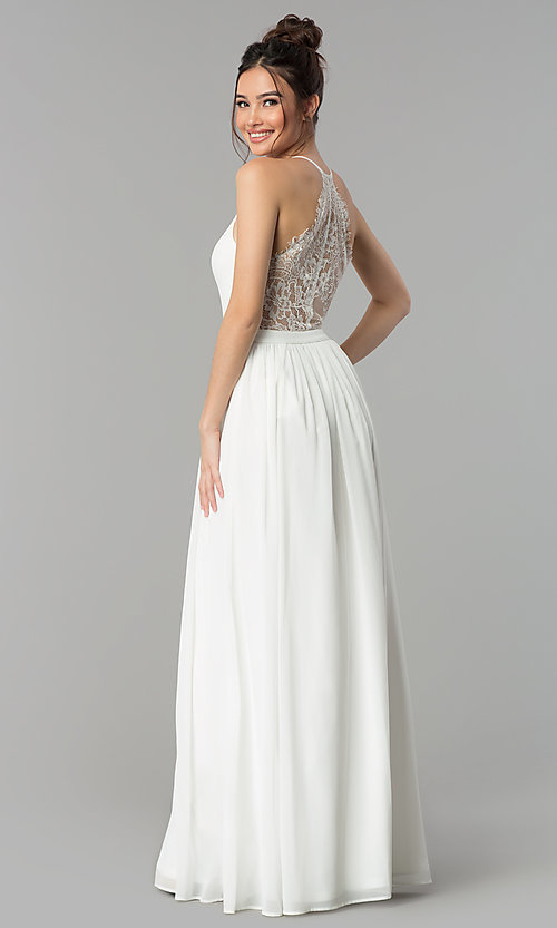 Image of chiffon v-neck formal dress with lace racerback. Style: LP-27442 Detail Image 6