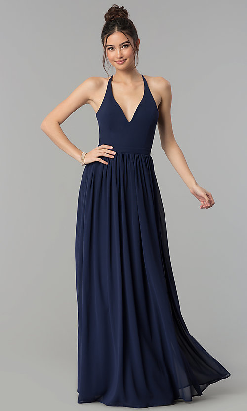 Image of chiffon v-neck formal dress with lace racerback. Style: LP-27442 Back Image