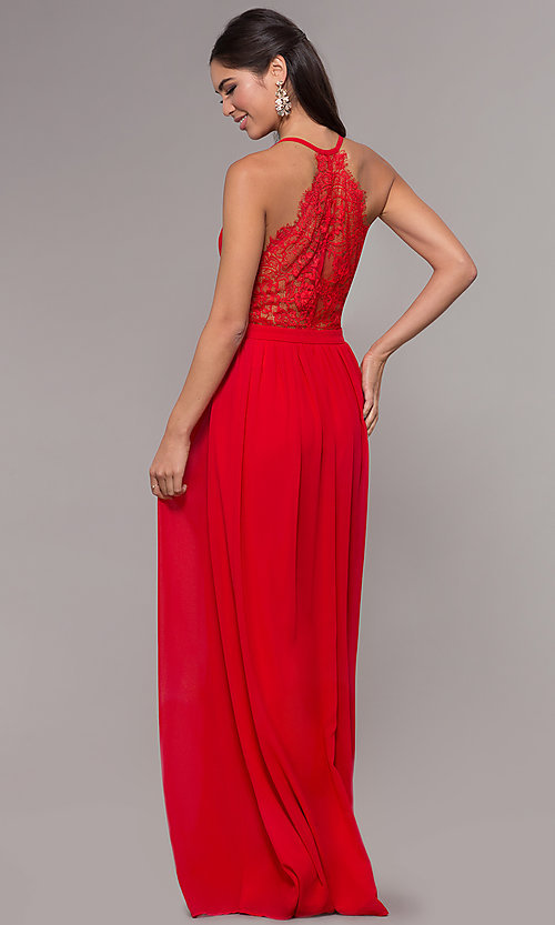 Image of chiffon v-neck formal dress with lace racerback. Style: LP-27442 Front Image