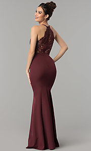 Image of lace-back decolletage-v-neck mermaid formal dress. Style: LP-27443 Detail Image 7