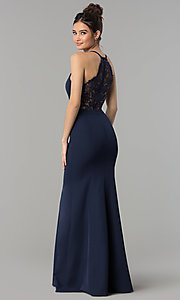 Image of lace-back decolletage-v-neck mermaid formal dress. Style: LP-27443 Detail Image 5