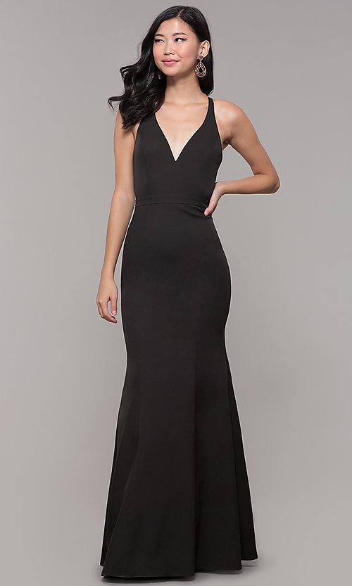 Image of lace-back decolletage-v-neck mermaid formal dress. Style: LP-27443 Detail Image 1