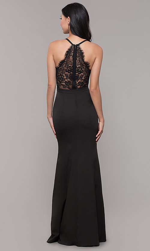 Image of lace-back decolletage-v-neck mermaid formal dress. Style: LP-27443 Detail Image 2