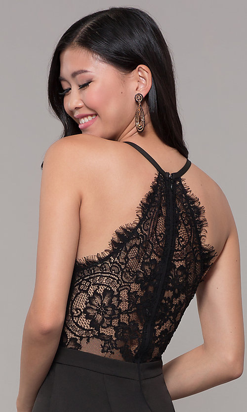 Image of lace-back decolletage-v-neck mermaid formal dress. Style: LP-27443 Detail Image 4