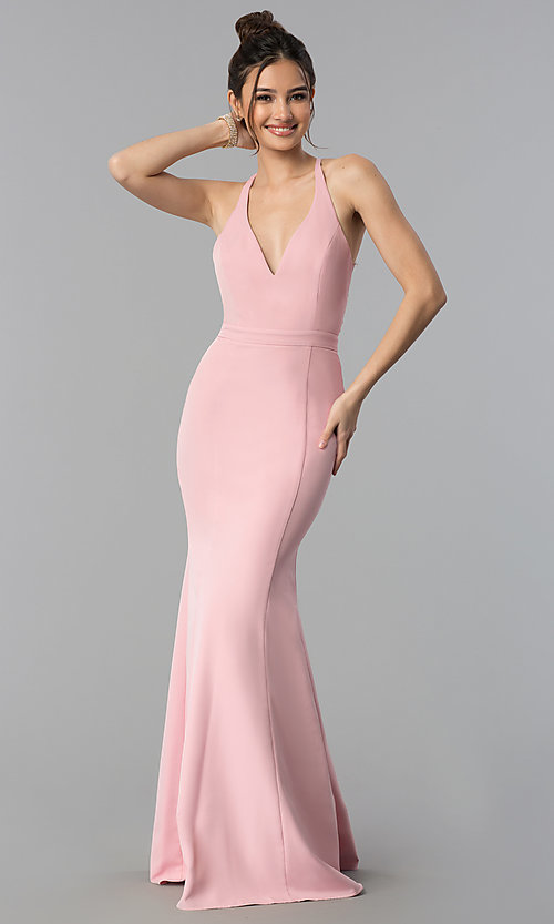Image of lace-back decolletage-v-neck mermaid formal dress. Style: LP-27443 Back Image