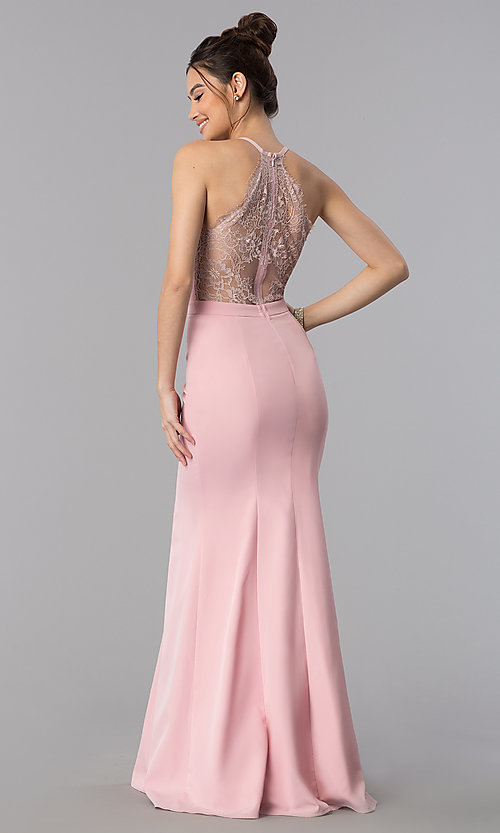 Image of lace-back decolletage-v-neck mermaid formal dress. Style: LP-27443 Front Image