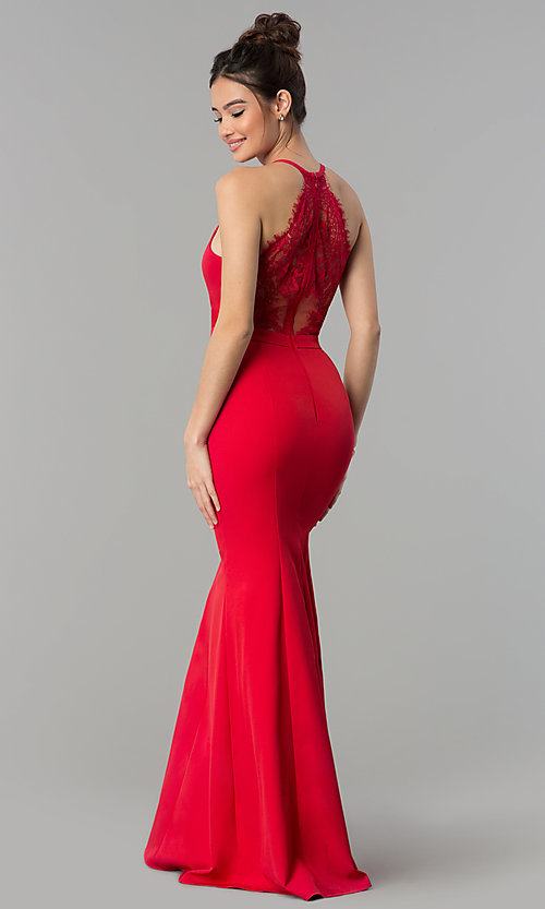 Image of lace-back decolletage-v-neck mermaid formal dress. Style: LP-27443 Detail Image 6