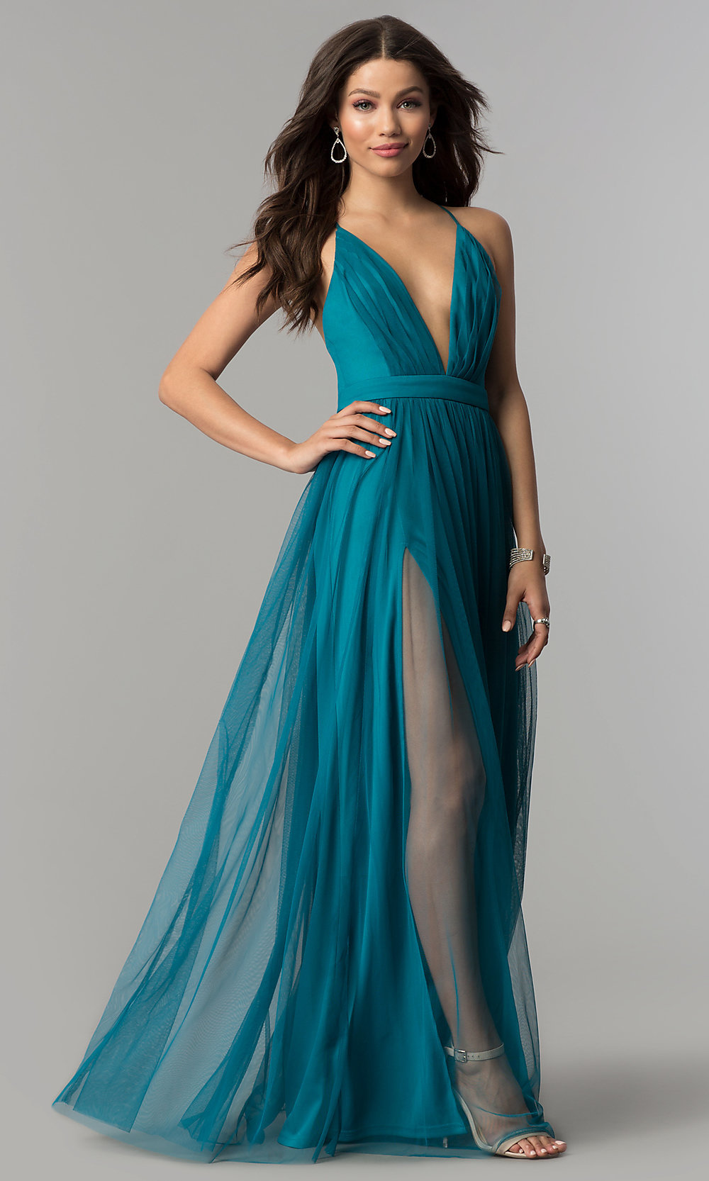 0fd142f39e Image of low-v-neck tulle long prom dress with double slits. Style. Tap to  expand