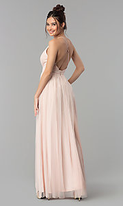 Image of low-v-neck tulle long prom dress with double slits. Style: LP-27450 Detail Image 4
