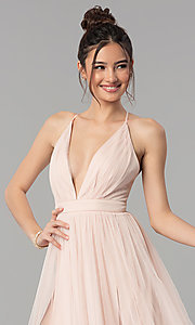 Image of low-v-neck tulle long prom dress with double slits. Style: LP-27450 Detail Image 5
