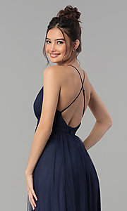 Image of low-v-neck tulle long prom dress with double slits. Style: LP-27450 Detail Image 2