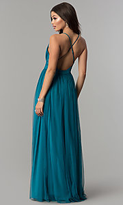 Image of low-v-neck tulle long prom dress with double slits. Style: LP-27450 Back Image