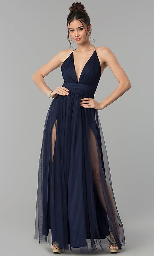 6e228b2bba2 Image of low-v-neck tulle long prom dress with double slits. Style