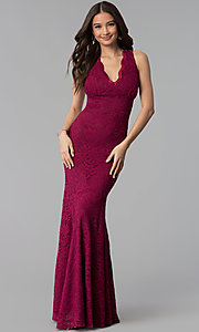 Image of Jump empire-waist wine red long lace prom dress. Style: JU-10746 Front Image