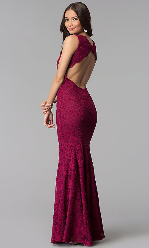 Image of Jump empire-waist wine red long lace prom dress. Style: JU-10746 Back Image