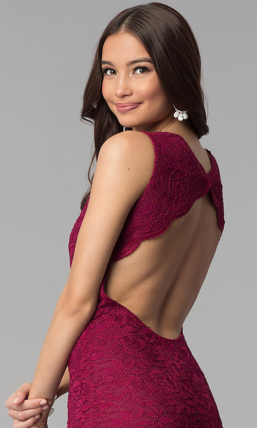 Image of Jump empire-waist wine red long lace prom dress. Style: JU-10746 Detail Image 2