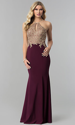 Lace-Applique-Bodice Long Prom Dress with Keyhole