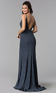 Image of glitter-crepe long prom dress in slate black. Style: DMO-J319527 Back Image