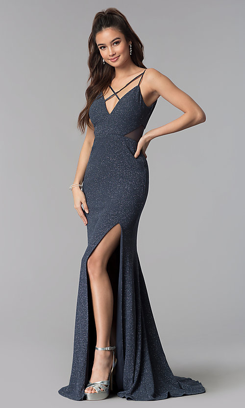 Image of glitter-crepe long prom dress in slate black. Style: DMO-J319527 Front Image