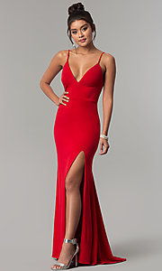 Image of v-neck long red prom dress with side slit. Style: DMO-J319577 Front Image