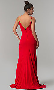 Image of v-neck long red prom dress with side slit. Style: DMO-J319577 Back Image