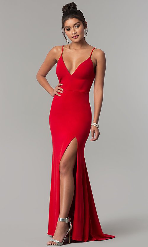 V-Neck Red Long Prom Dress with Side Slit