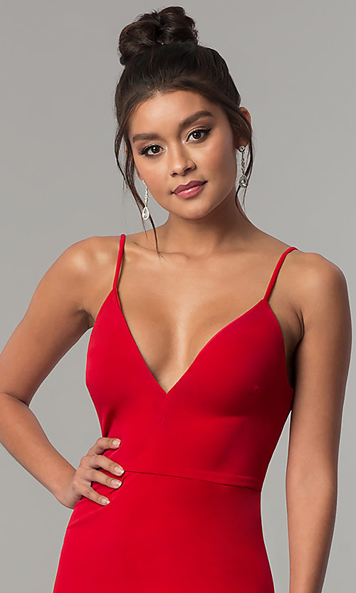 Image of v-neck long red prom dress with side slit. Style: DMO-J319577 Detail Image 1