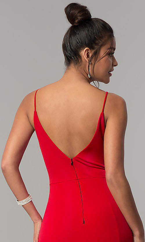 Image of v-neck long red prom dress with side slit. Style: DMO-J319577 Detail Image 2