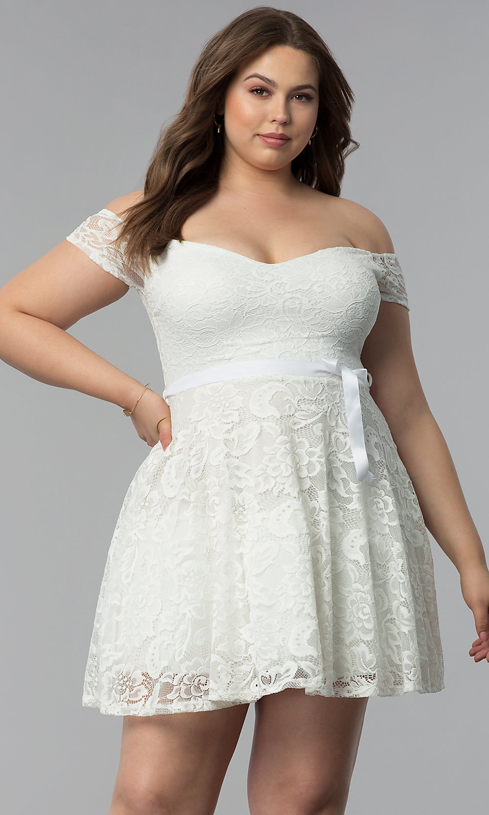 Plus-Size Lace Short Off-the-Shoulder Party Dress